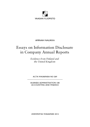 dissertation corporate disclosure Master thesis business administration - financial management impact of corporate social responsibility disclosure on the financial performance of firms in.